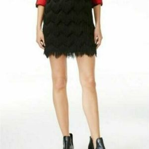 Maison Jules Fringe Wave Black Mini Skirt